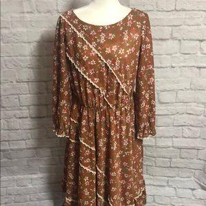 Vintage 70s floral bohemian dress